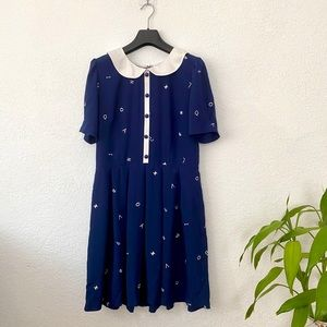 Embroidered Navy Skater Dress with White Collar